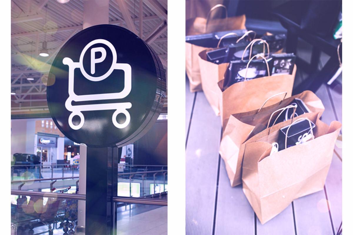 Стоянка для тележек в торговом центре - шоппинг со свободными руками
