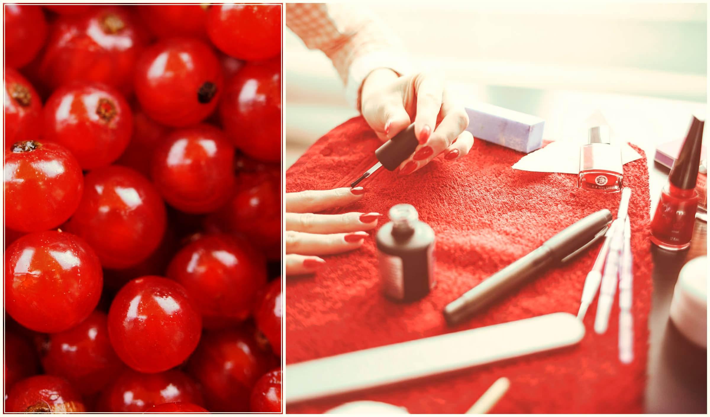 Красный лак. Красные ногти. Красные ягоды