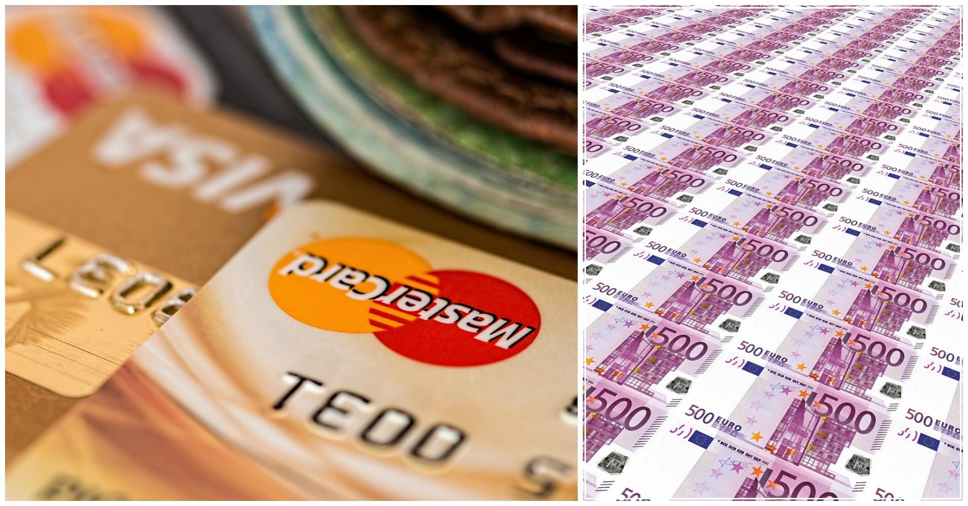 Деньги. Евро. Купюры. Мастеркард